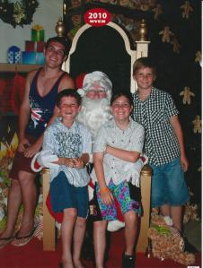 Santa, Liam, Ryan, Jaimie and Dylan, 2010